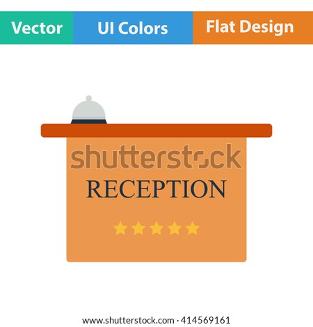 Flat design icon of hotel reception desk with bell in ui colors. Vector illustration. - stock vector