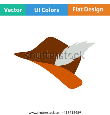 Flat design icon of hunter hat with feather in ui colors. Vector illustration.