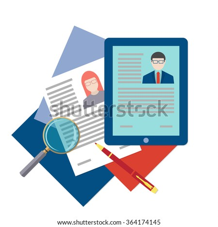 Flat design icon of searching professional staff, analyzing resume, recruitment, human resources management, work of hr. Vector illustration. Head hunting concept.  - stock vector