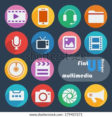 Flat design icon set - Multimedia - stock vector