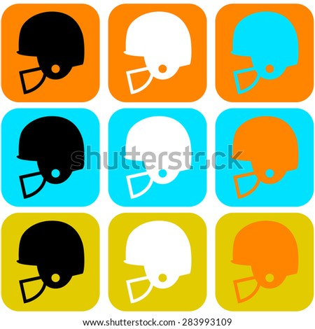 Flat design icon set showing a football helmet in different color combinations - stock vector