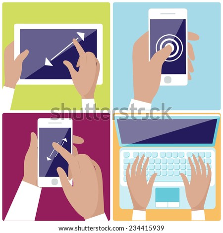 Flat design icon set with hands typing on keyboard of laptop,  hold smartphone showing some of multitouch gestures in flat design - stock vector