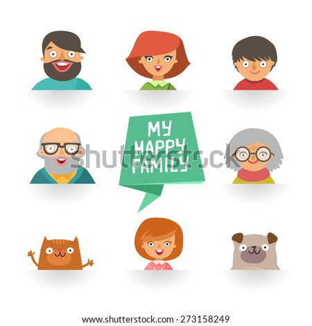 "Flat design icons collection of family members avatars: mom, dad, son, daughter, grandmother, grandfather, dog and cat, ribbon with ""My happy family"" text. Vector colorful illustrations in flat style - stock vector"