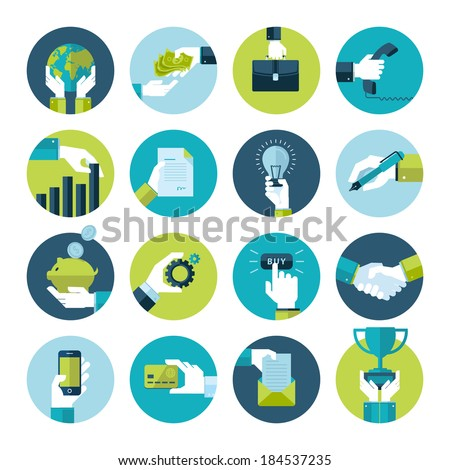 Flat design icons collection of hand using a variety of products. Hand in business situations. - stock vector