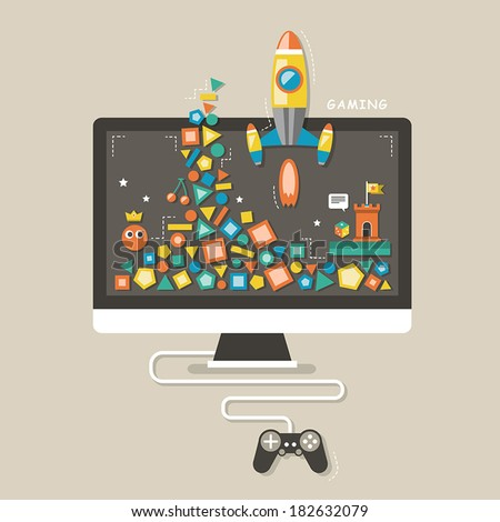flat design icons concept of computer games for interface - stock vector
