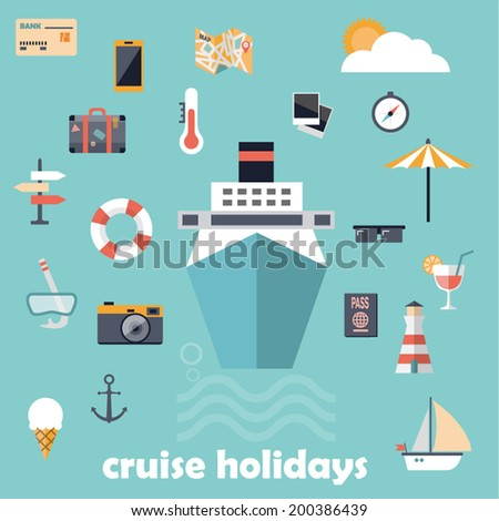 Flat design icons, cruise holidays background - stock vector