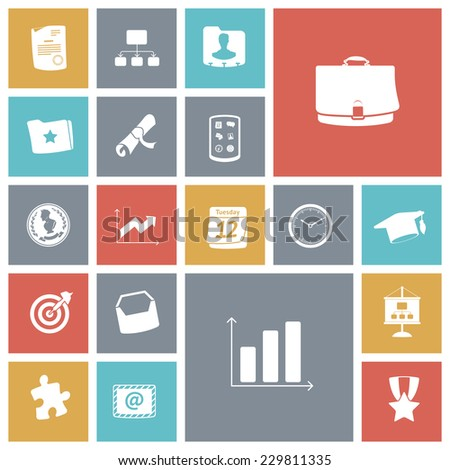 Flat design icons for business and finance. Vector illustration. - stock vector