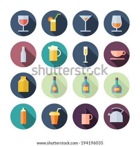 Flat Design Icons For Drinks. Vector illustration eps10, transparent shadows. - stock vector