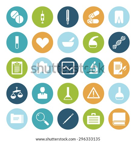 Flat design icons for medical science. Vector illustration. - stock vector