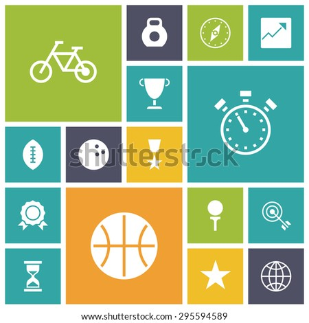 Flat design icons for sport and fitness. Vector illustration. - stock vector