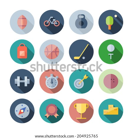Flat Design Icons For Sport and Fitness. Vector illustration eps10, transparent shadows. - stock vector