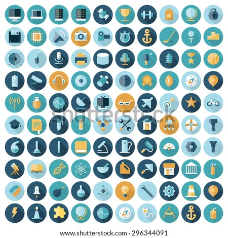 Flat design icons for technology, science and industrial - stock vector
