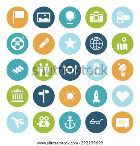 Flat design icons for travel and leisure. Vector illustration. - stock vector