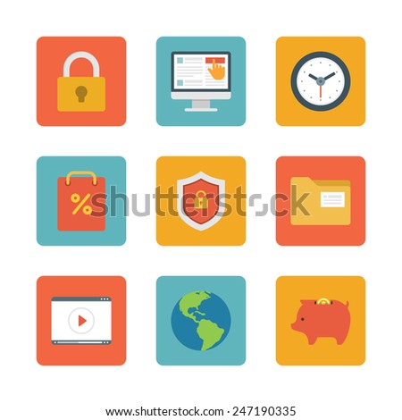 Flat design icons, Lock Security, Online Shopping, Clock, Shop Bag, File Folder, Shield Protection, Video Tutor, Globe Piggy Bank. Vector business symbols for website and promotion banners. - stock vector