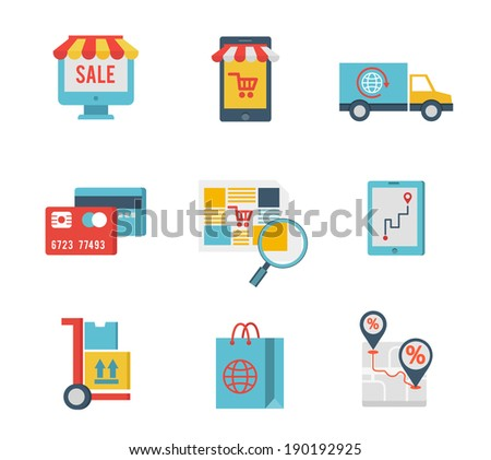 Flat design icons of e-commerce symbols and internet shopping elements - stock vector