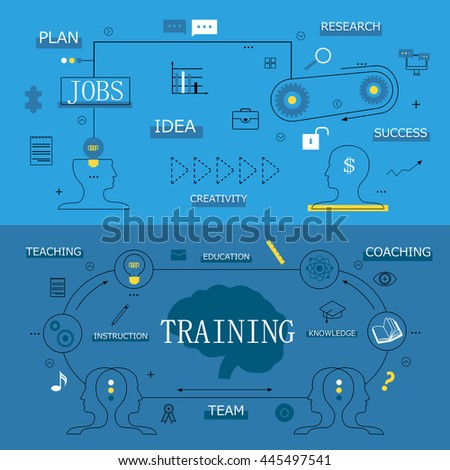 Flat Design Icons On Background-Vector Illustration,Graphic Design.For Web,Websites,Print,Presentation Templates,Mobile Applications And Promotional Materials.Bulb,Arrow,Mind,Idea.Thin Line Concept - stock vector