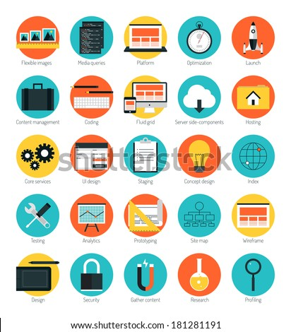 Flat design icons set modern style vector illustration concept of responsive design web interface, website analytics, search engine optimization, html coding webpage wireframe and prototyping elements - stock vector
