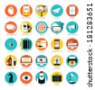 Flat design icons set modern style vector illustration concept of web development service, social media marketing, graphic design, business company branding items and advertising elements. - stock photo