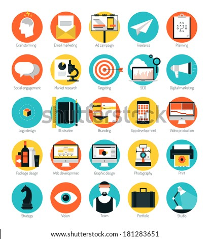 Flat design icons set modern style vector illustration concept of web development service, social media marketing, graphic design, business company branding items and advertising elements. - stock vector