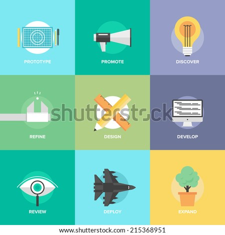 Flat design icons set of creative design process, web product development, studio technical service, prototype engineering, marketing promotion and success ideas. Modern vector illustration concept. - stock vector