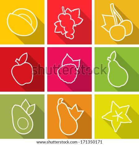 Flat design icons. Set of fruit. Vector illustration. - stock vector