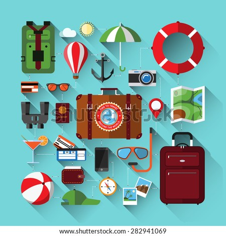 Flat design icons set of planning a summer vacation. Travel, tourism and journey objects. Passenger luggage. Vector illustration - stock vector