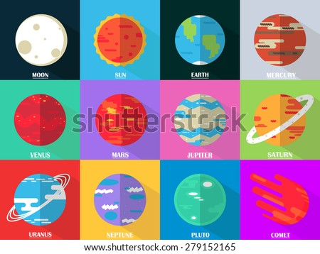 Flat design icons set - planets with names - mercury, venus, earth, mars, jupiter, saturn, uranus, neptune, pluto. Vector astronomic abstract objects - moon, sun, comet. - stock vector