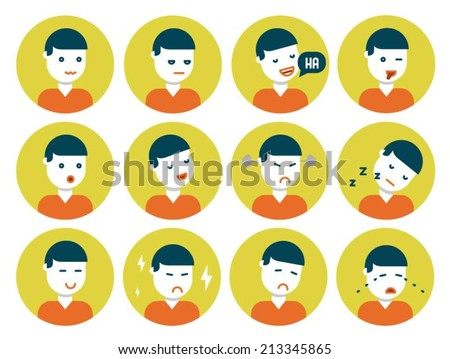 Flat design icons with various different facial expressions and emotions. - stock vector
