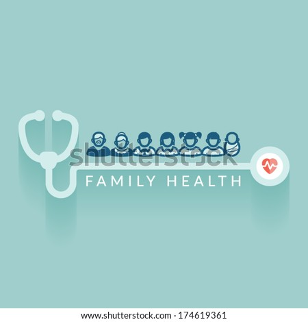 Flat design. Illustration about family health. Medical concept. - stock vector