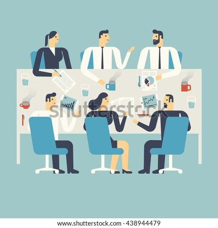 Flat design illustration business people working, meeting in an office.