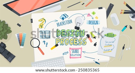 Flat design illustration concept for creative design process. Concept for web banner and promotional material. - stock vector