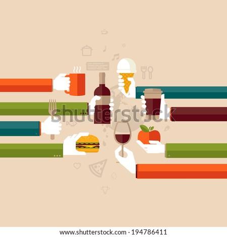 Flat design illustration concept for restaurant  - stock vector