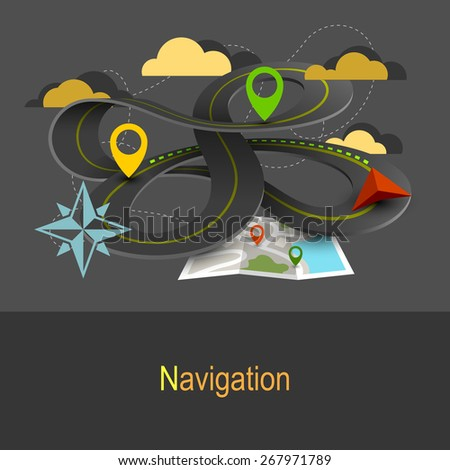 Flat design illustration concept in gray colors. Wavy highway, road markers and navigation map - stock vector