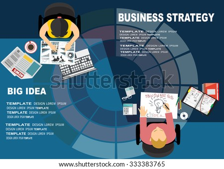 Flat design illustration concepts for big idea, marketing, brainstorming, business, analysis,company strategy, project management. Concept for web banner and promotional material. - stock vector