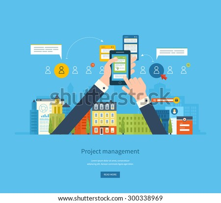 Flat design illustration concepts for business analysis and planning, consulting, team work, project management and development. Concepts web banner and printed materials. - stock vector