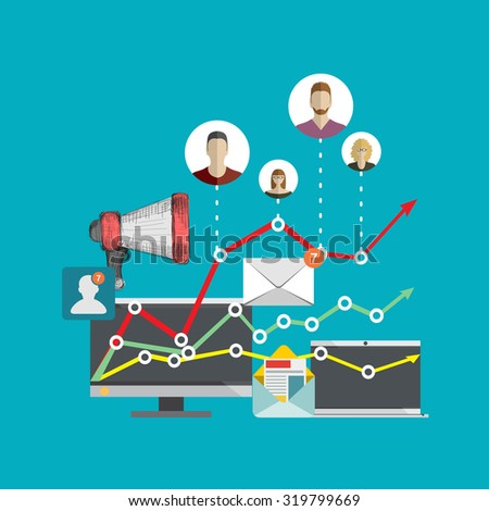 Flat design illustration concepts for business analysis and planning, digital marketing, team work, project management and development. Concepts web banner and printed materials. - stock vector