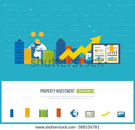 Flat design illustration concepts for business analysis and planning strategy, financial report. Business diagram graph chart. Investment growth. Property investment.  - stock vector