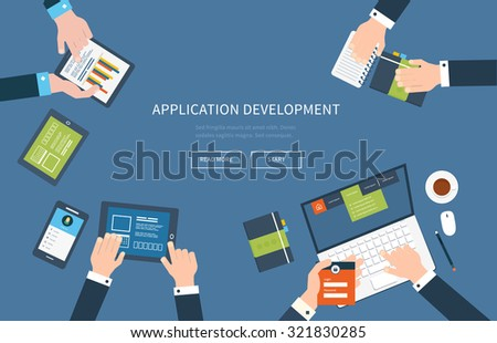 Flat design illustration concepts for business analysis, consulting, teamwork, project management and application development. - stock vector