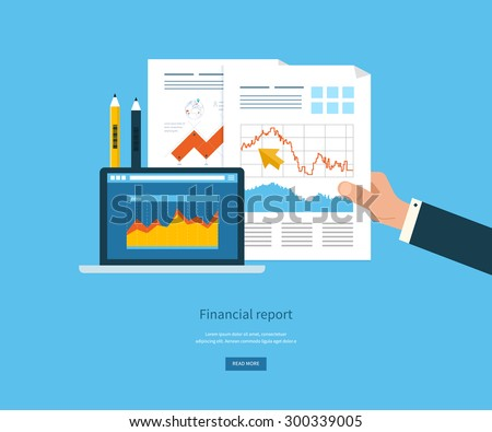 Flat design illustration concepts for business analysis, financial report, consulting, team work, project management and development. Concepts web banner and printed materials. - stock vector