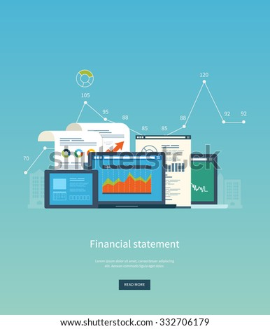 Flat design illustration concepts for business analysis, financial statement, consulting, team work, project management and development. Concepts web banner and printed materials. - stock vector