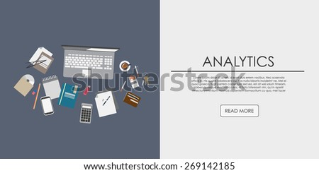 Flat design illustration concepts for business. Concepts web banner and printed materials in flat style. analytical work - stock vector