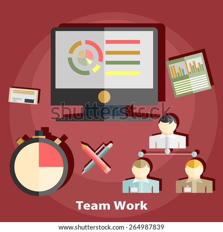Flat design illustration concepts for business, finance, consulting, management, team work, analysis, strategy and planning, - stock vector