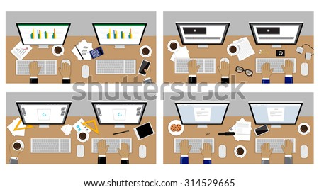 Flat Design Illustration Concepts For Business, Financial Analysis, Graphic Design, Video Production, Keyboard Typing. For Web Banner And Printed Materials - stock vector