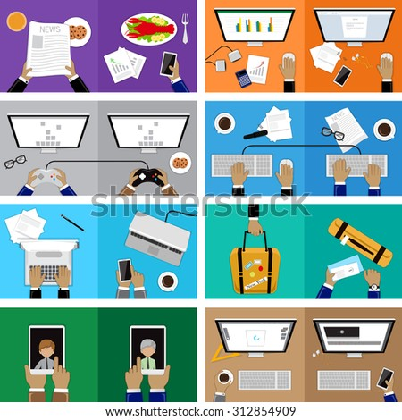 Flat Design Illustration Concepts For Business, Interaction, Journalism, Team Work, Video Conferencing, Working Lunch, Travel. For Web Banner And Printed Materials - stock vector