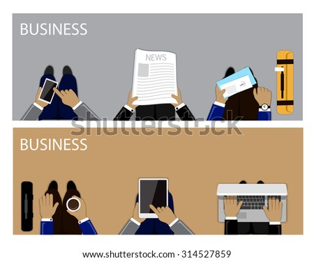 Flat Design Illustration Concepts For Business, Reading Newspapers, Traveling, Working, Coffee Break. For Web Banner And Printed Materials - stock vector