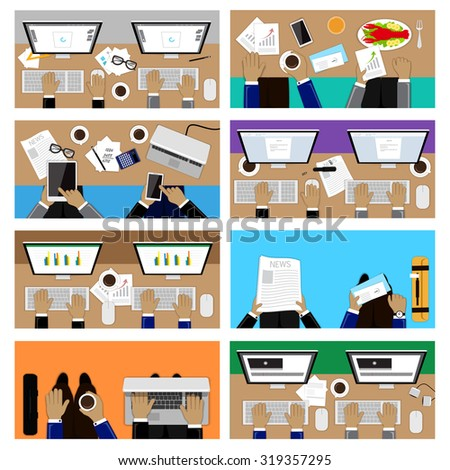 Flat Design Illustration Concepts For Business, Team Work, Video Production, Working Lunch, Graphic Design, Finance, Travel. For Web Banner And Printed Materials - stock vector