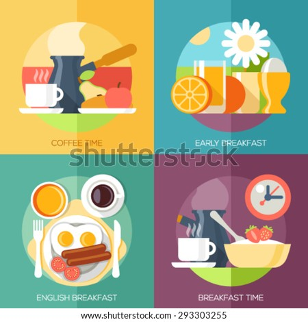 Flat design illustration concepts for coffee time, early breakfast, english breakfast, breakfast time. Concepts web banner and printed materials. - stock vector