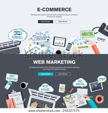 Flat design illustration concepts for e-commerce and web marketing - stock vector