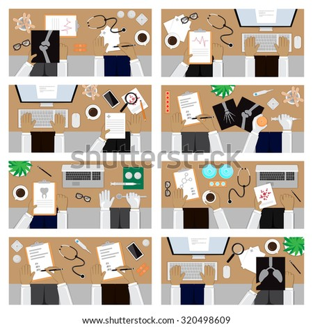 Flat Design Illustration Concepts For Medical. For Web Banner And Printed Materials - stock vector
