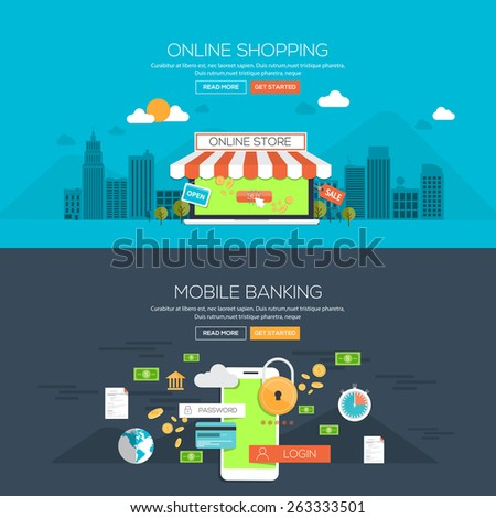 Flat design illustration concepts for Online shopping and Mobile banking. Concepts web banner and printed materials.Vector - stock vector